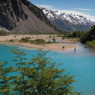 Hiking on the shore of Lake Verde in Valle Hermoso - Patagonia National Park Chile.