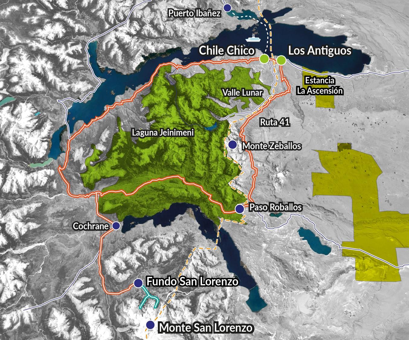 Nuestra ruta en Monte San Lorenzo y Parque Nacional Patagonia, marcada con trazos de color turquesa y rojo.