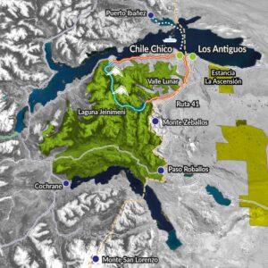 Nuestra ruta en Parque Nacional Patagonia, marcada con trazos de color turquesa y rojo.